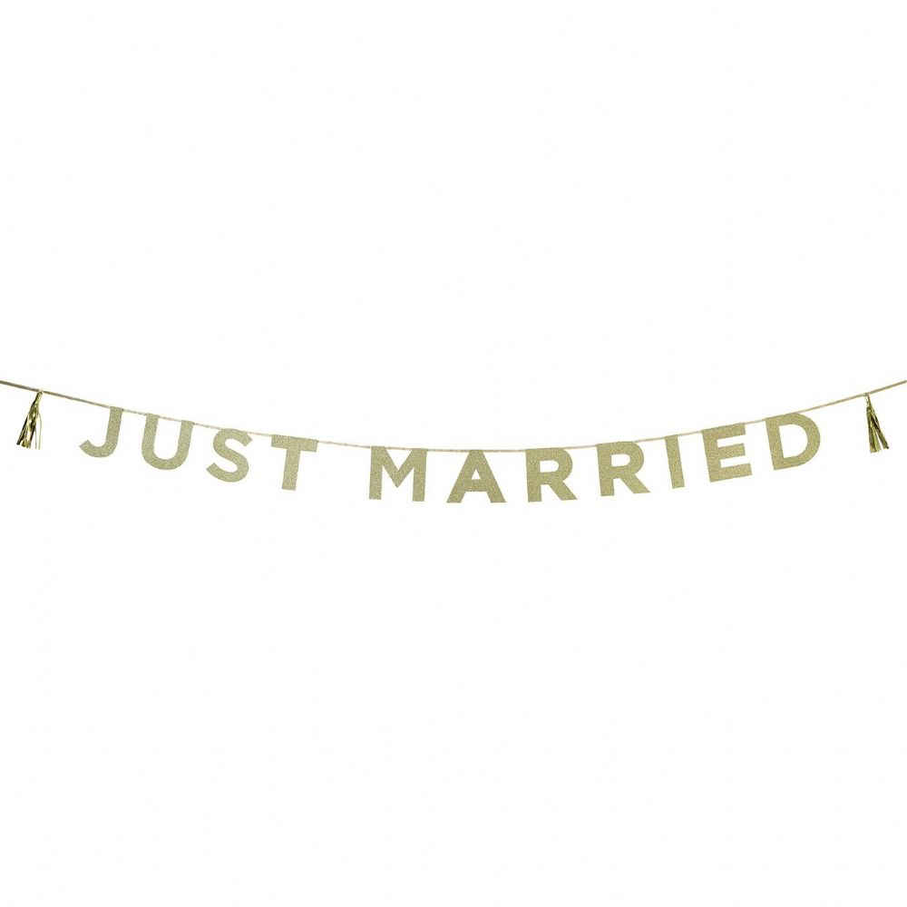 Just Married Gold Glitter Banner